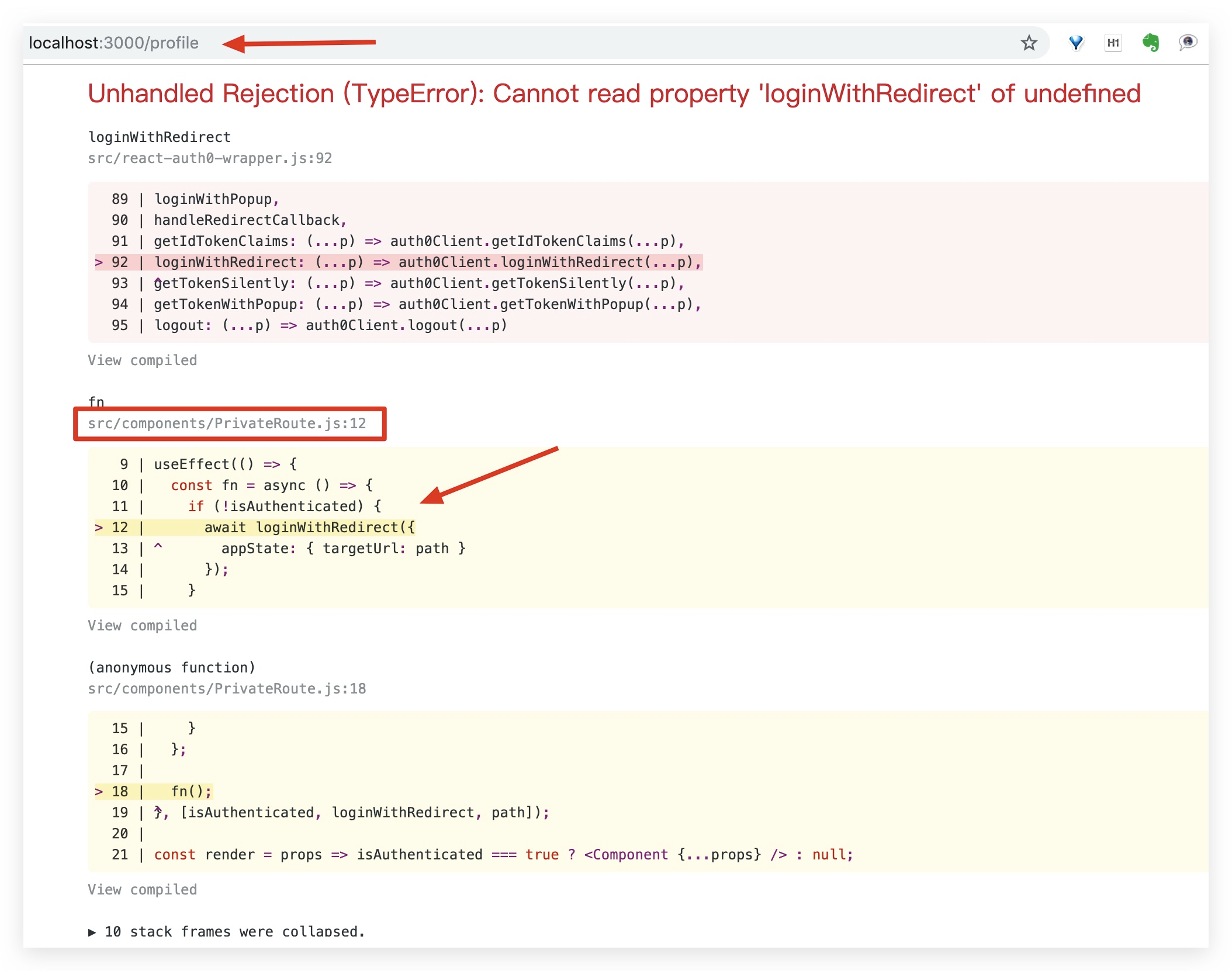 TypeError: Cannot read property 'loginWithRedirect' of