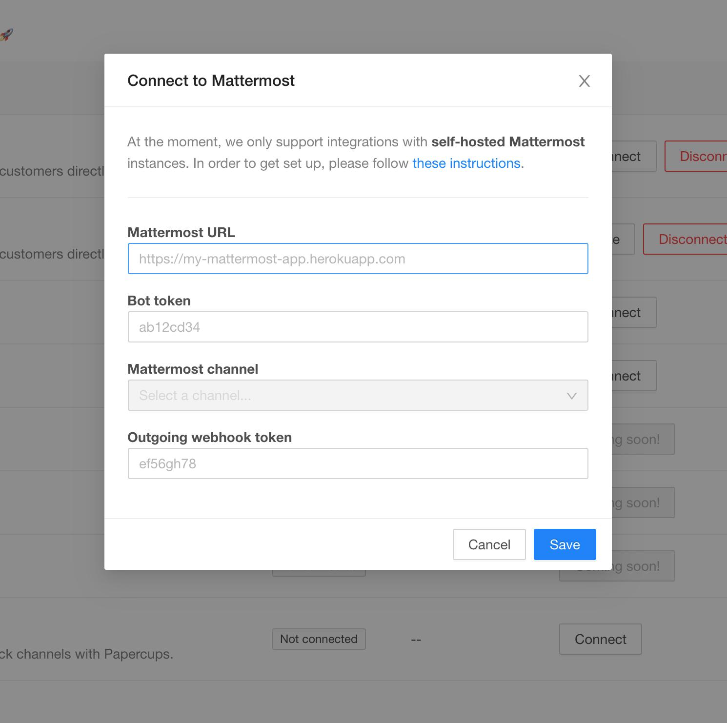Mattermost authorization modal