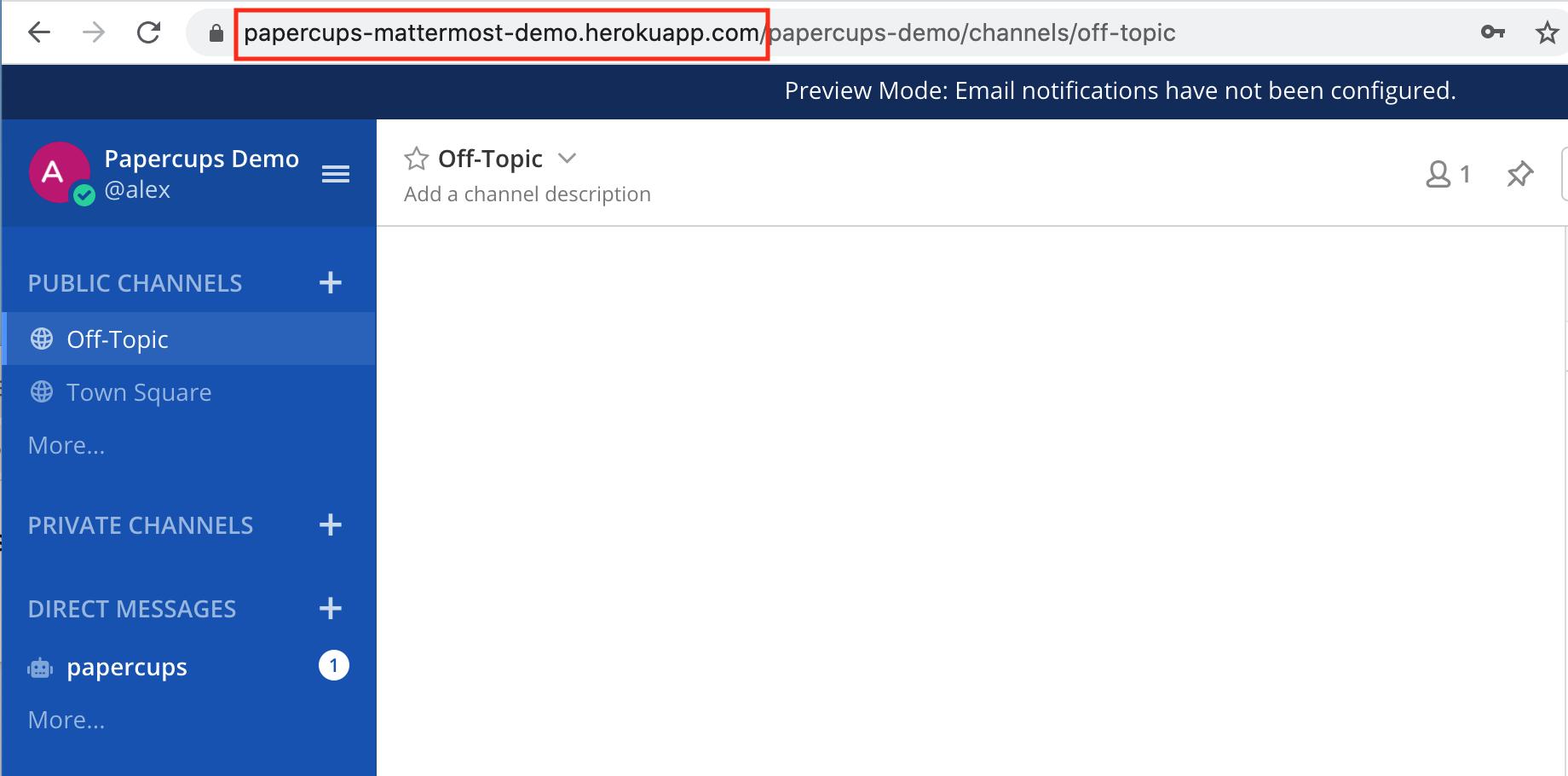 Mattermost dashboard URL