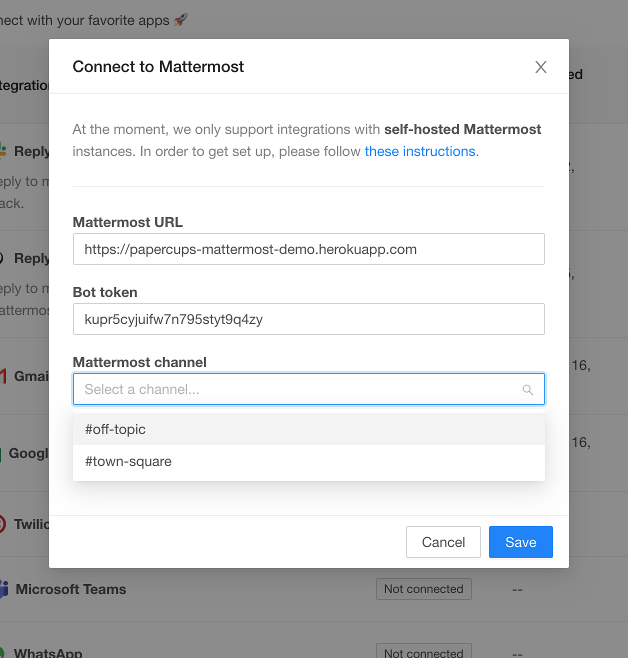 Select Mattermost channel