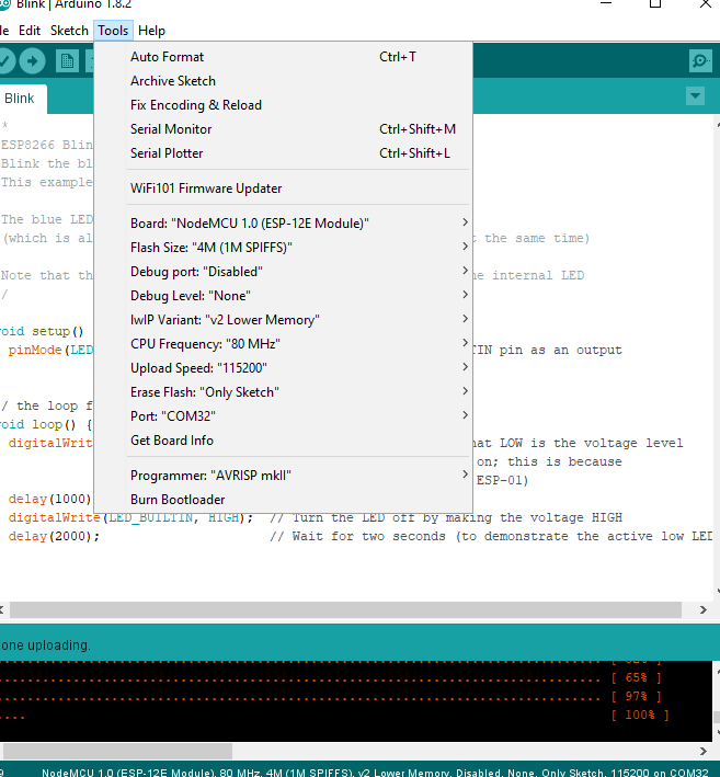 Unable to load the code from arduino ide to esp8266 · Issue