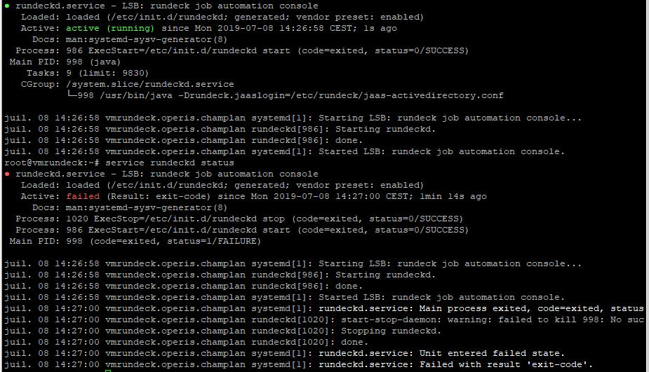 Cannot start rundeckd service after a restart - status failed