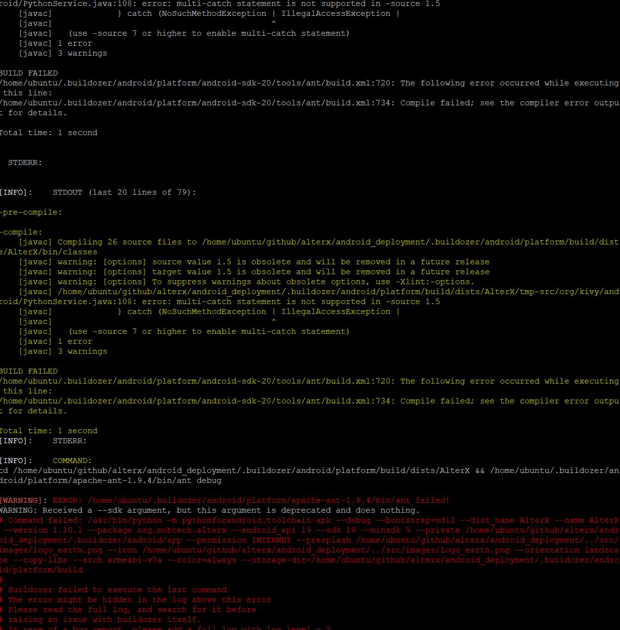 ERROR: /home/ubuntu/ buildozer/android/platform/apache-ant