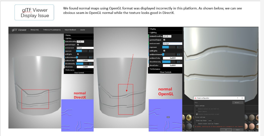 normal maps using OpenGL was displayed incorrectly in gltf viewer