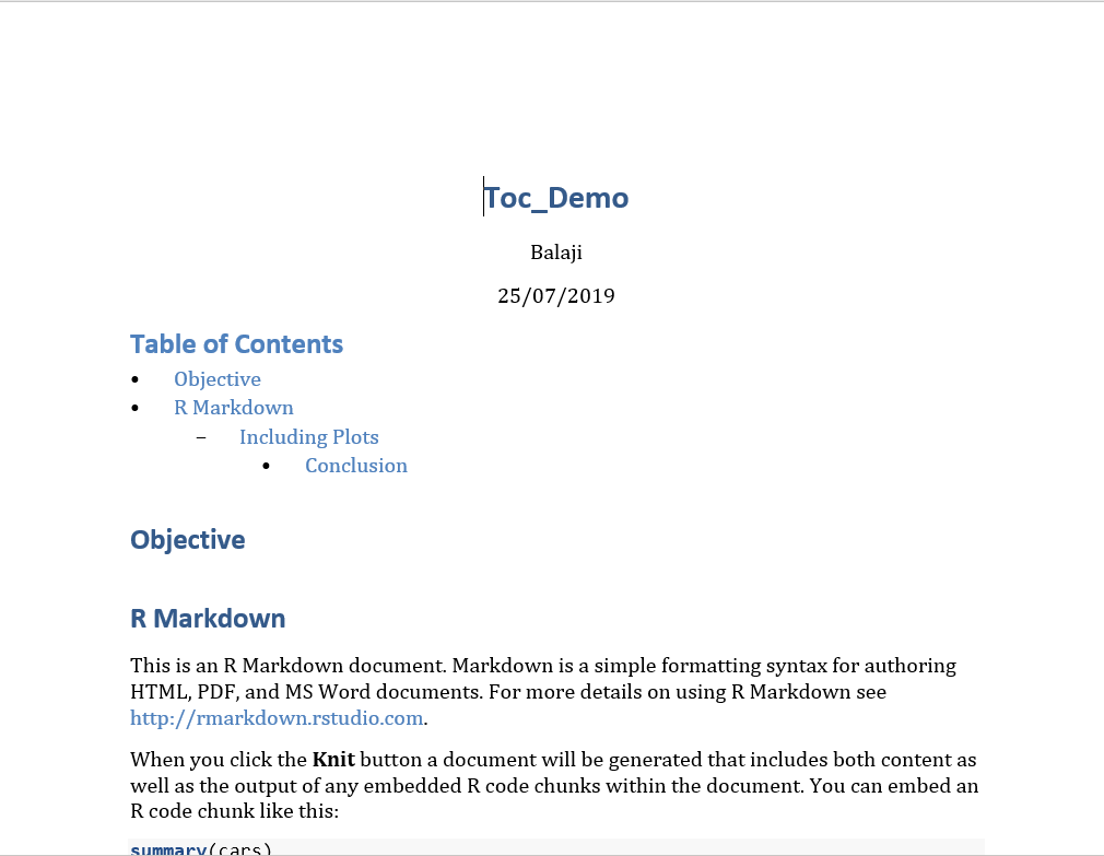 Generate Manual Table of Contents in (R)Markdown Documents