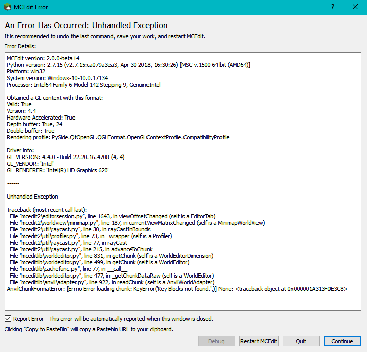 How to fix: mcedit unhandled exception · Issue #494 · mcedit/mcedit2