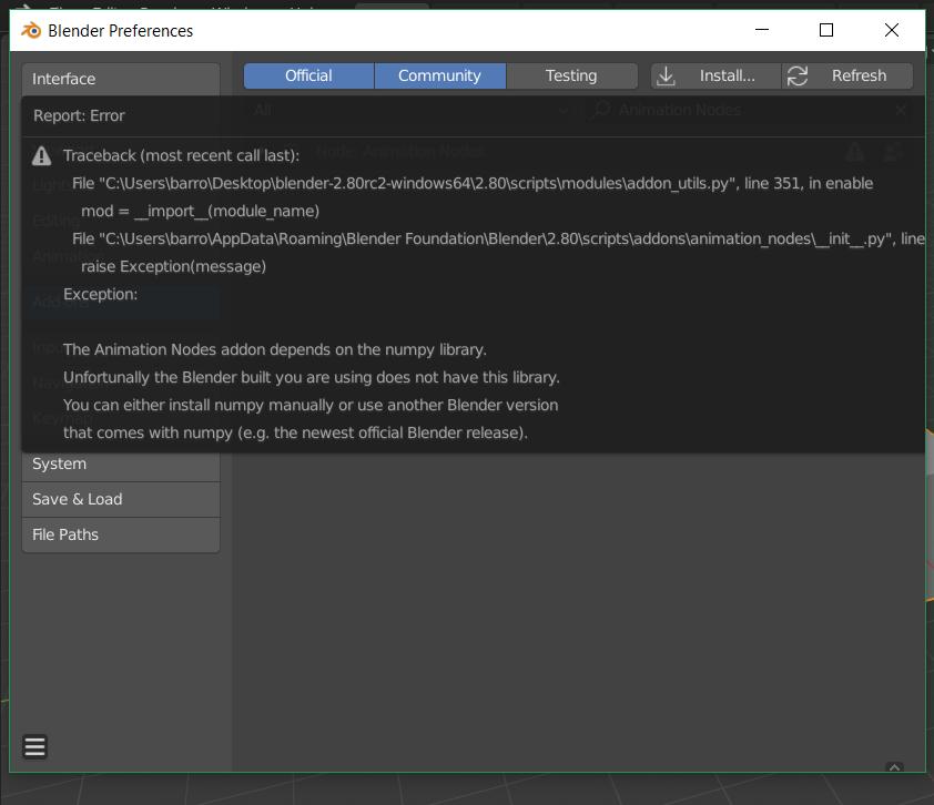 Blender 2 8 install issue Numpy missing (traceback error