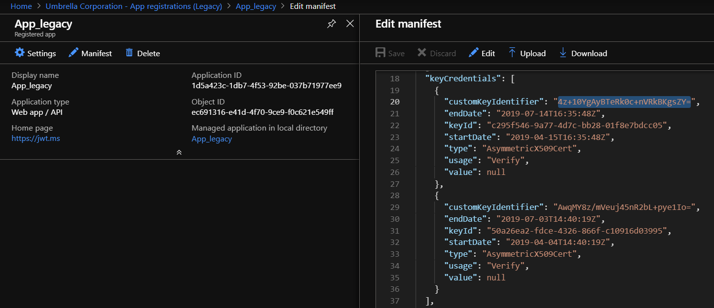 azure app registration manifest keycredentials
