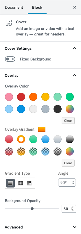 Overlay Gradient panel
