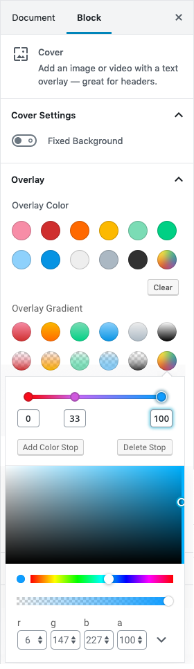 Gradient Picker w alpha and stops