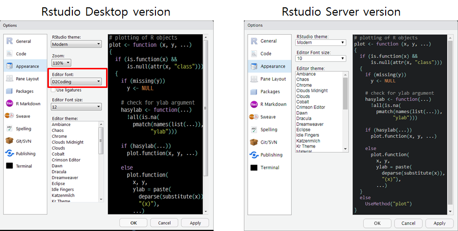Add editor font support to RStudio Server · Issue #2534 · rstudio
