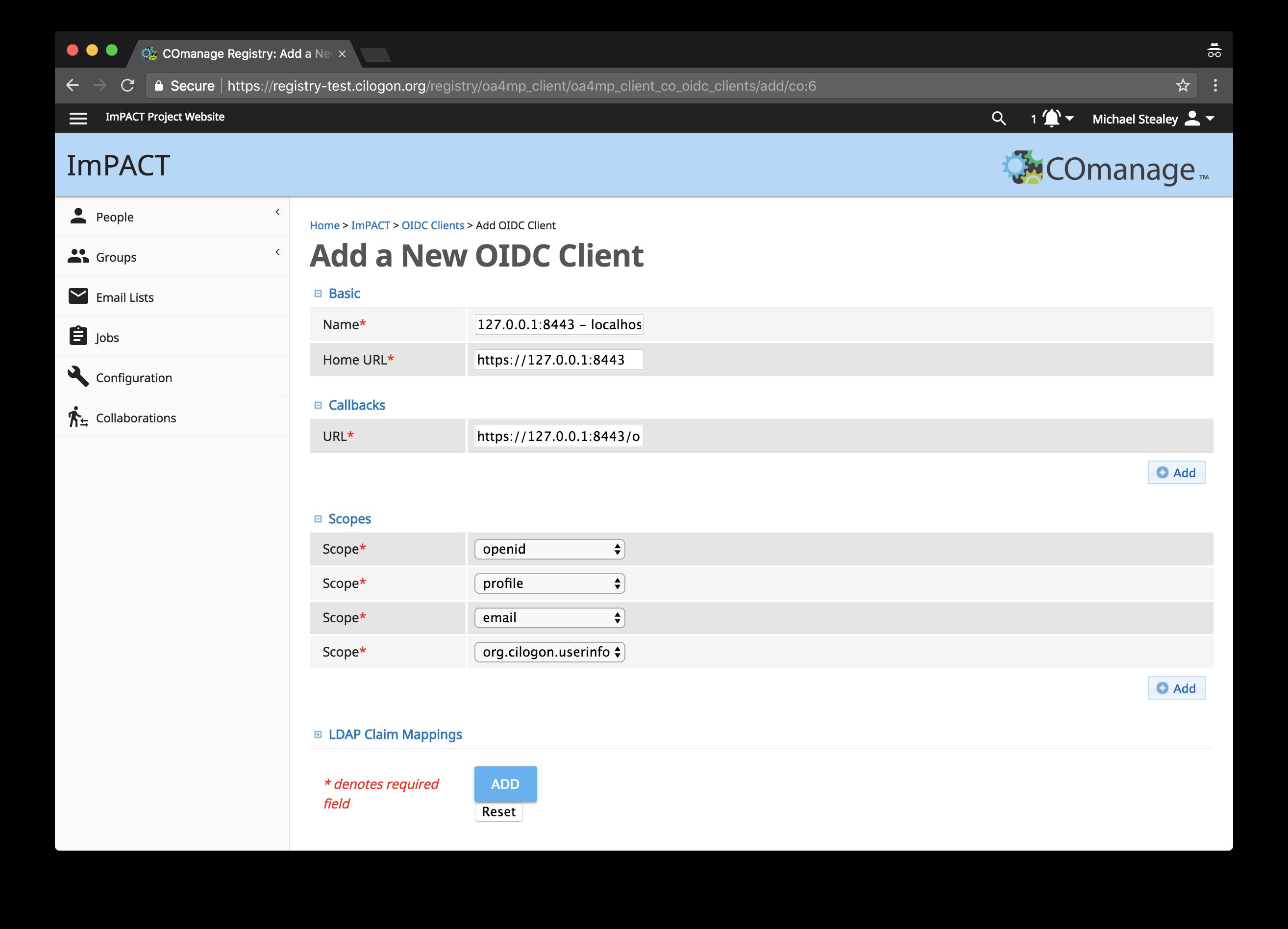 OIDC client config