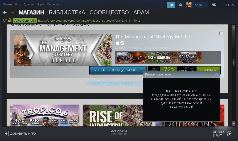 Steam - Ваш браузер не поддерживает минимальный набор функций