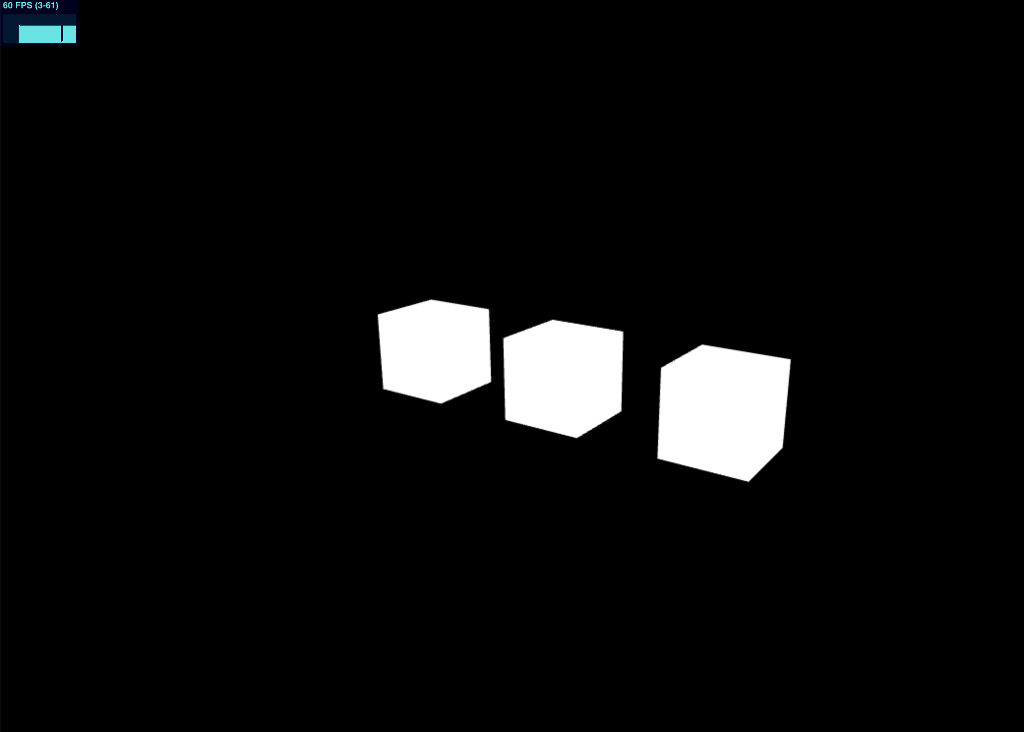 Screen shot of three white cubes in a black background with a frames-per-second graph in the top left.