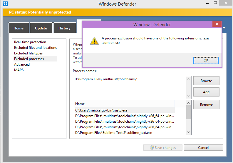Windows Defender goes nuts when running rustdoc on some