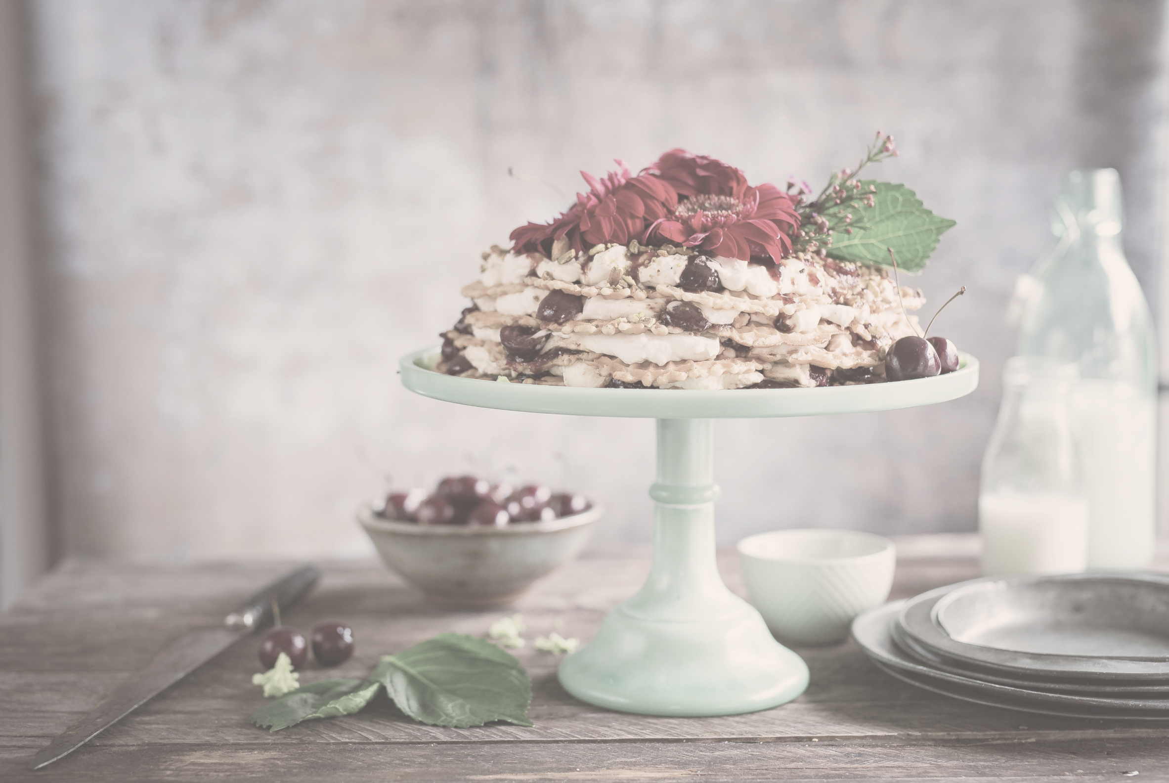 Layered dessert on a rustic table