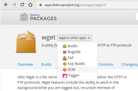 Sources tab for Wget package results in 404 · Issue #401 · fedora