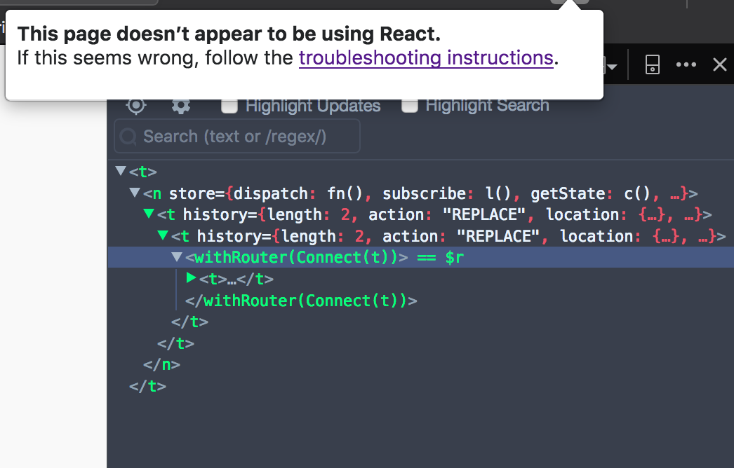 DevTools toolbar icon can't detect React version for apps on