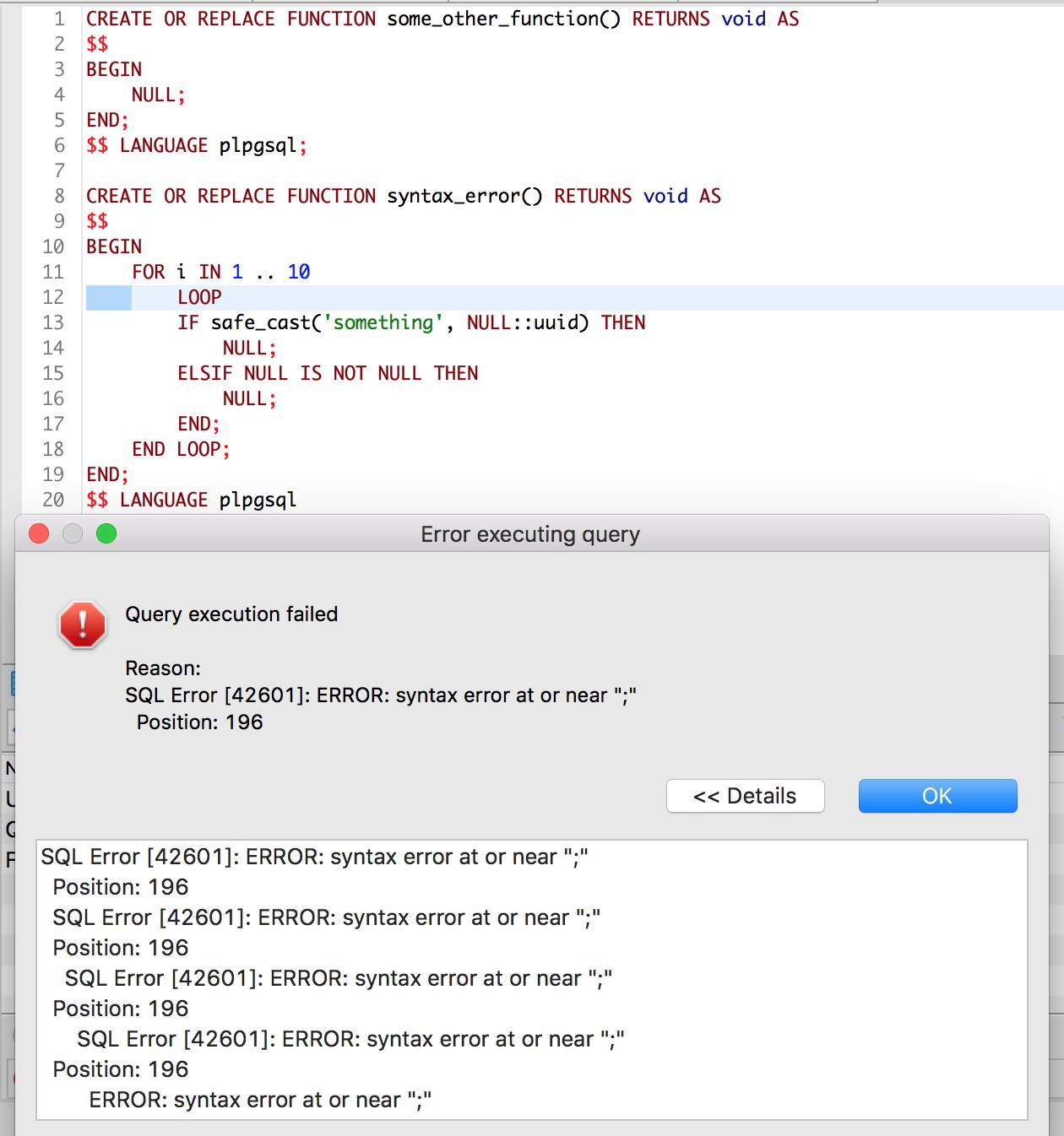 SQL Editor does not go to position on PostgreSQL errors