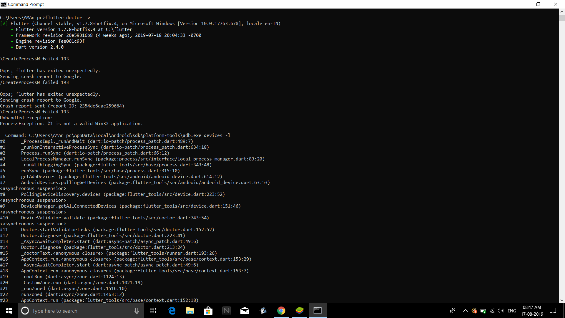 On windows, attempt to execute adb by flutter_tools fails