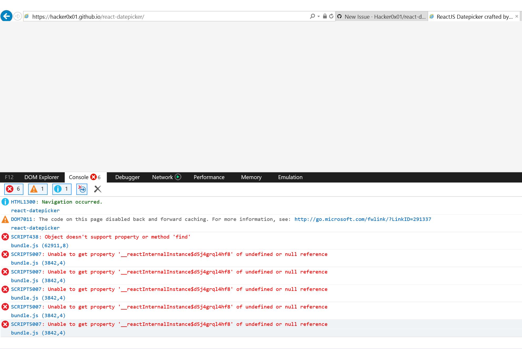 DatePicker does not work in IE 11 · Issue #1076 · Hacker0x01