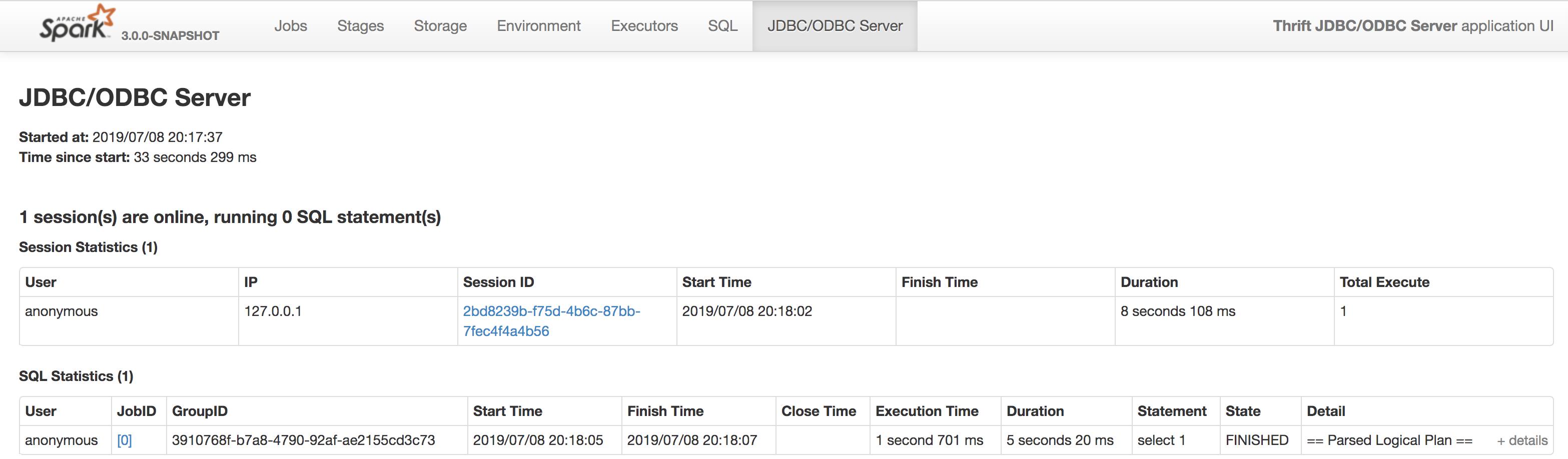 SPARK-28373] Document JDBC/ODBC Server page - ASF JIRA