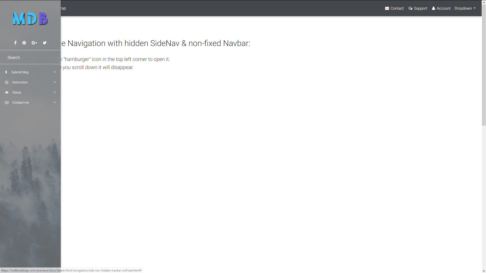 Double Navigation with hidden SideNav & (non) fixed Navbar