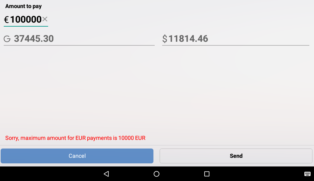 Android app tells the IBAN transaction limit is 10 000 euro · Issue