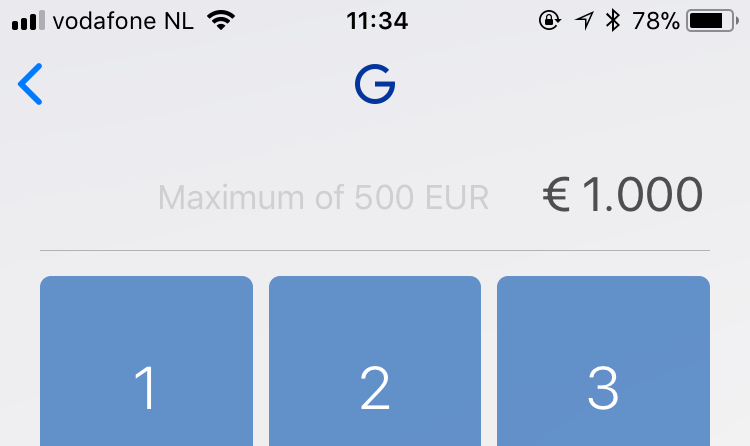 iOS app tells the IBAN transaction limit is 500 euro · Issue #83