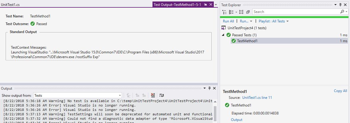 The test adapter ('Microsoft VisualStudio TestTools