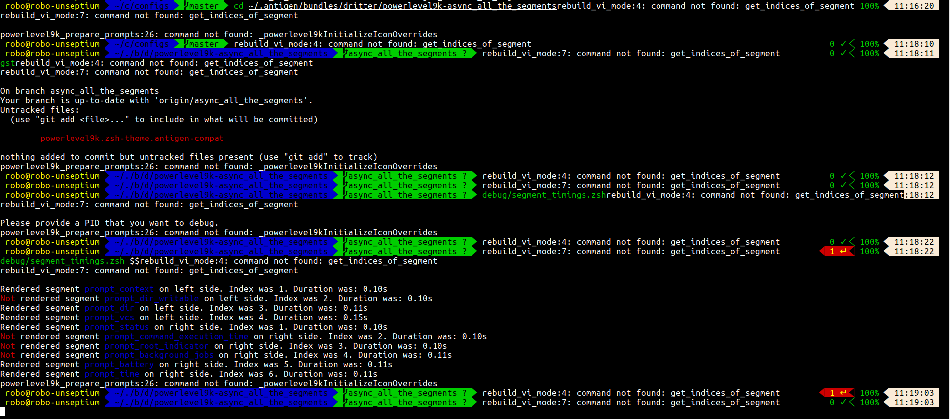 timings test debug script