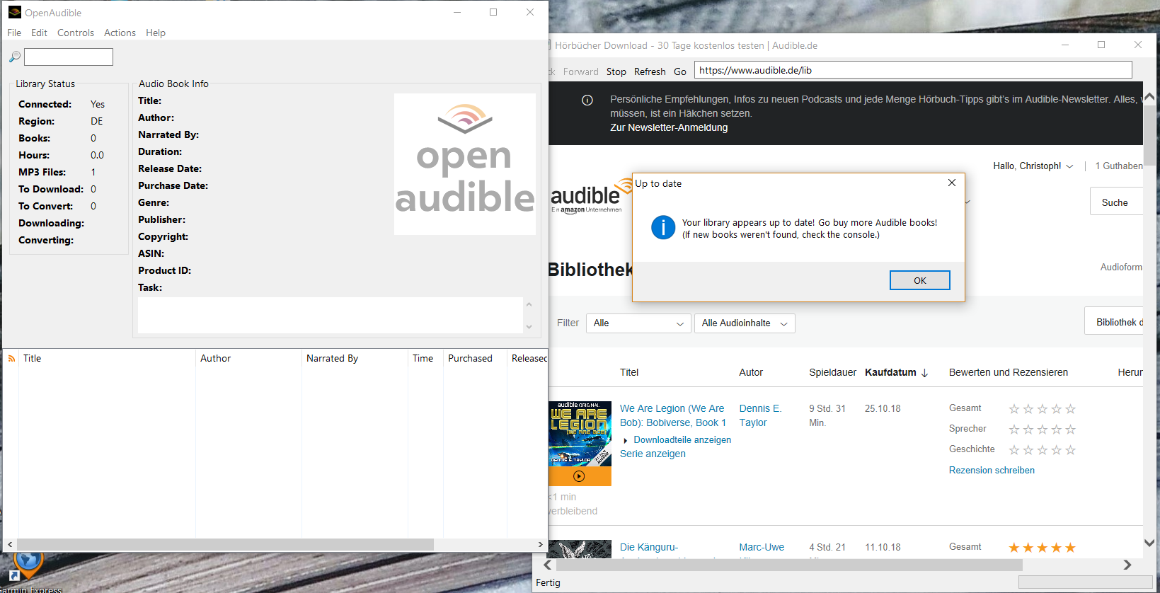 connecting to library don't work with audible de · Issue #55