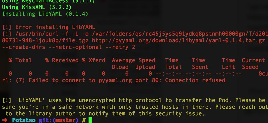 Error installing LibYAML · Issue #100 · haxpor/Potatso · GitHub