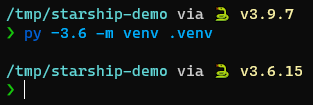 Starship terminal showing change in Python version after creating a virtual environment