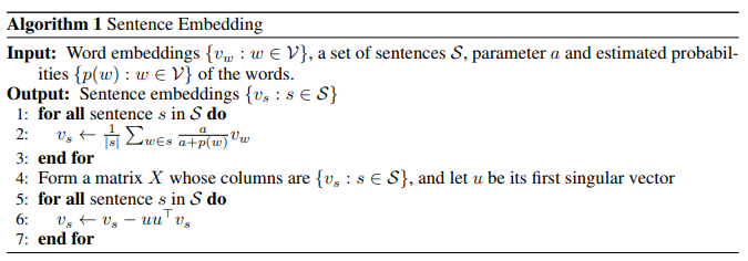 a simple but tough to beat baseline for sentence embeddings issue