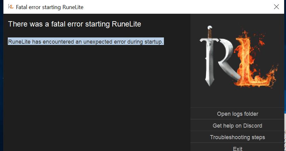 Fatal error on opening launcher · Issue #9722 · runelite