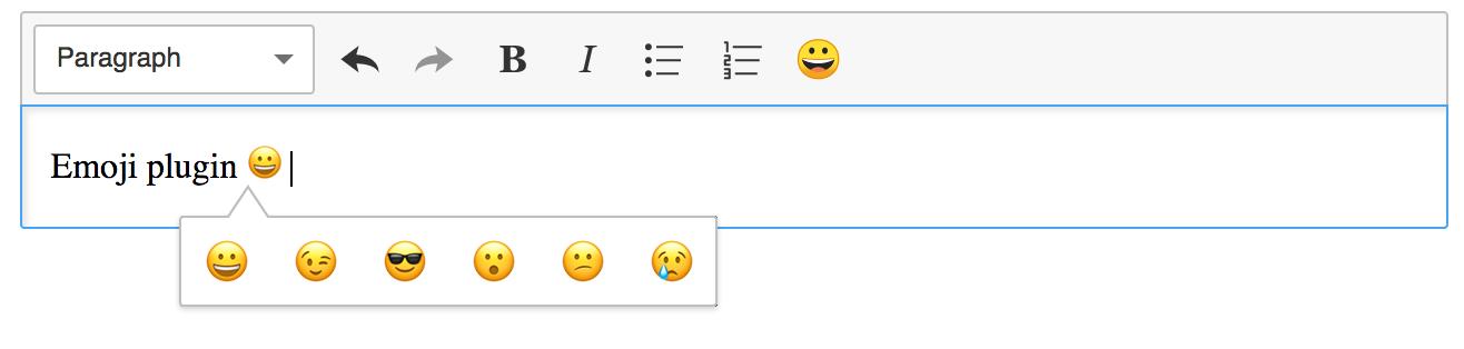 Screenshot of a emoji plugin in CKEditor 5.