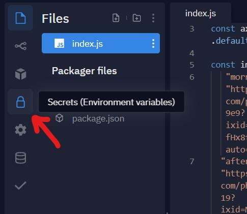 Secrets tab in repl.it