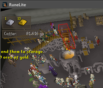 Blast Furnace plugin overlays: a bar interface, a label showing the amount of gold in the Blast Furnace coffer, and an overlay of the conveyor belt's clickbox