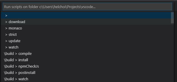 npm command palette