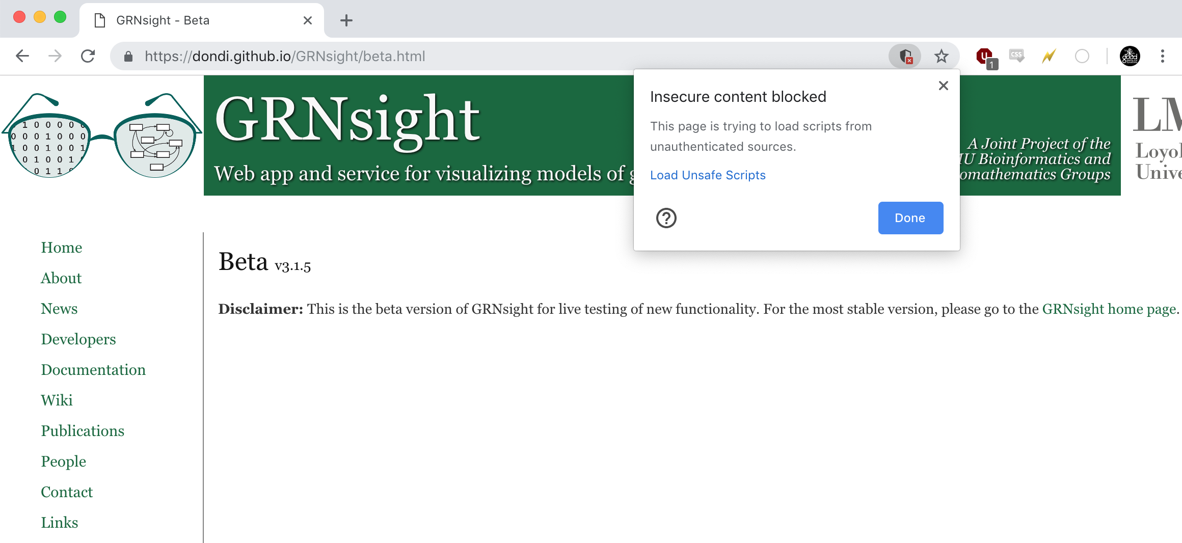 Both Google Chrome and Safari have begun to block GRNsight's
