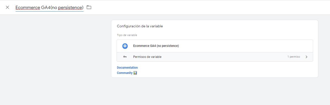 Configuración plantilla de variable Ecommerce GA4  (no persistence)
