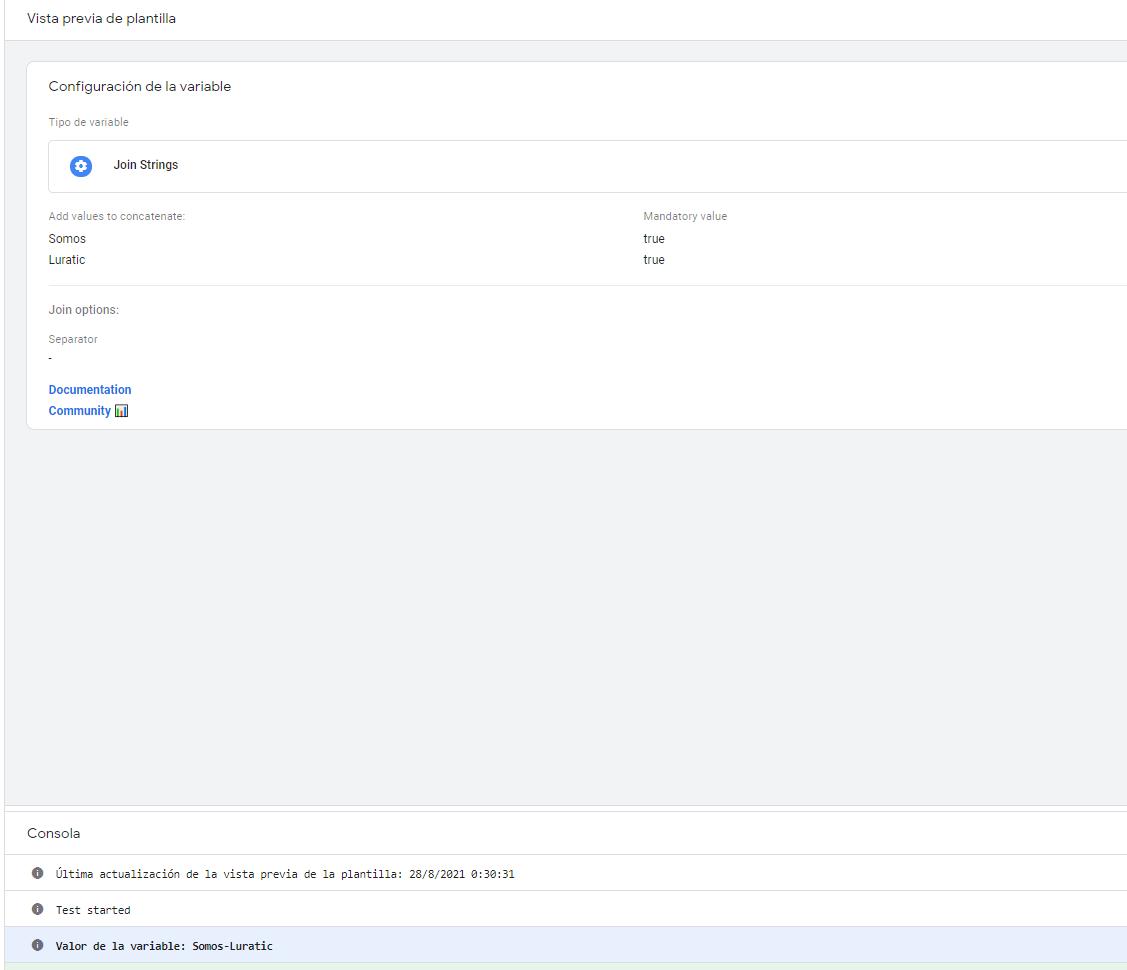 Configuración plantilla de variable Join Strings