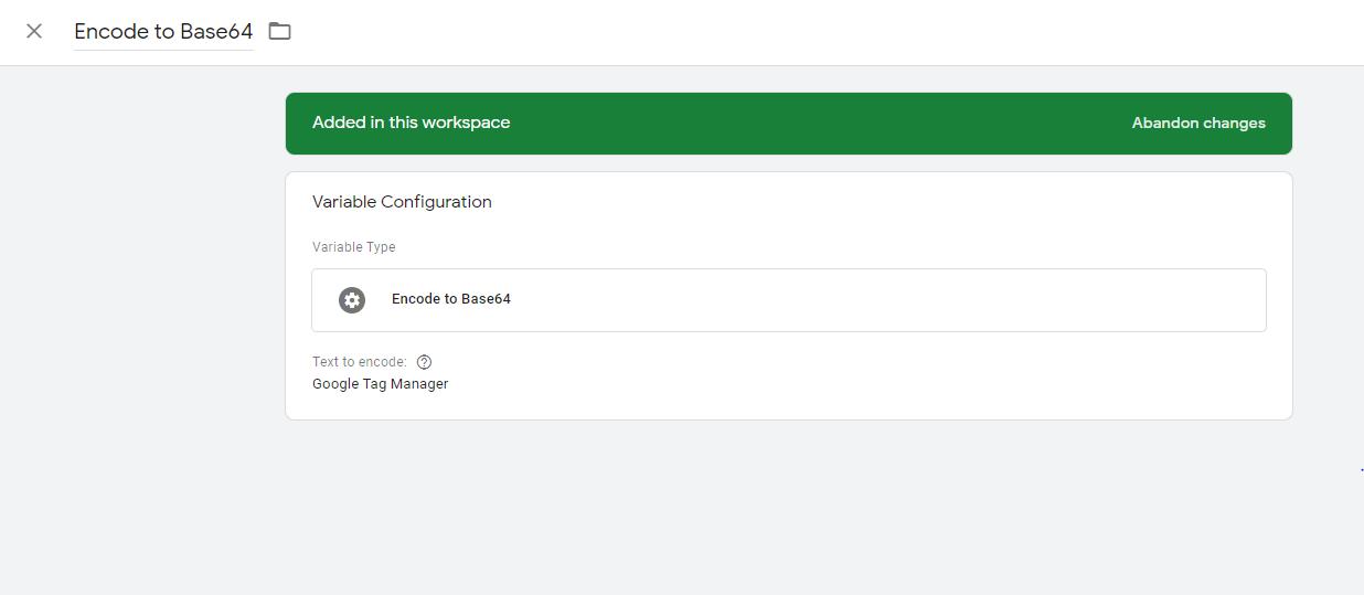 Configuración plantilla de variable Encode Base 64