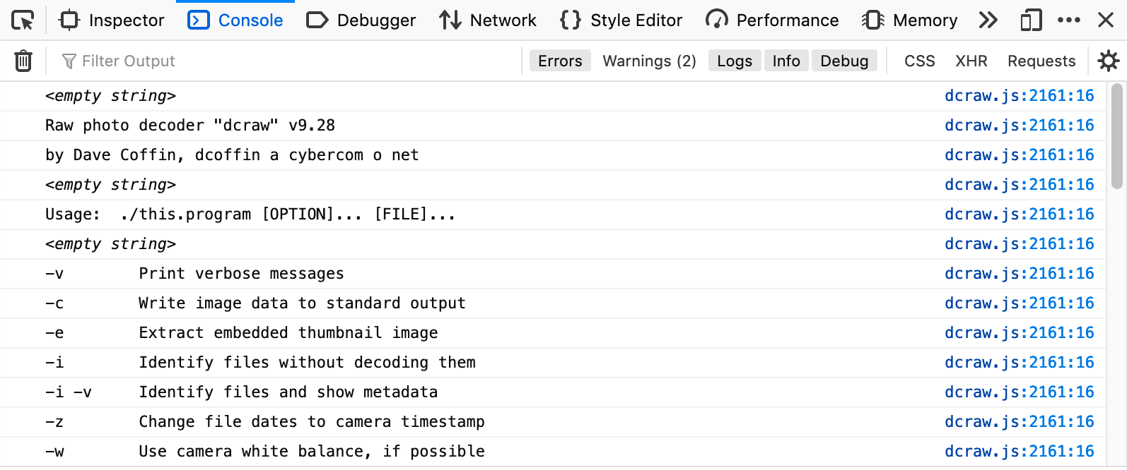 dcraw browser console output