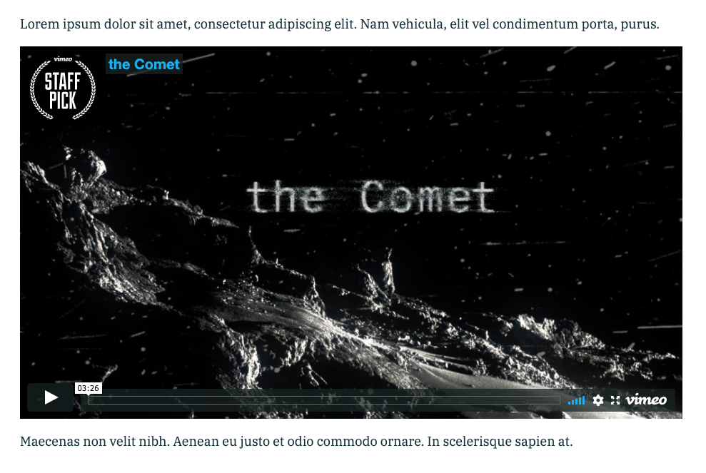 """Screenshot of a Vimeo embed of Christian Stangl's """"The Comet"""""""