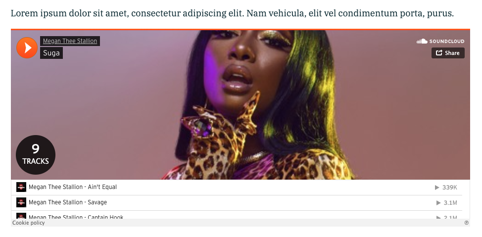 "Screnshot of Megan Thee Stallion album ""Suga"" on SoundCloud"