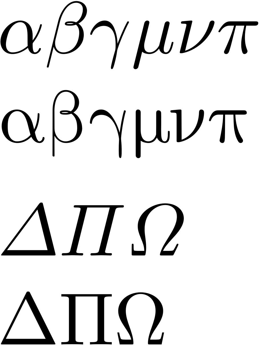 Italic uppercase greek, upright lowercase greek · Issue #564