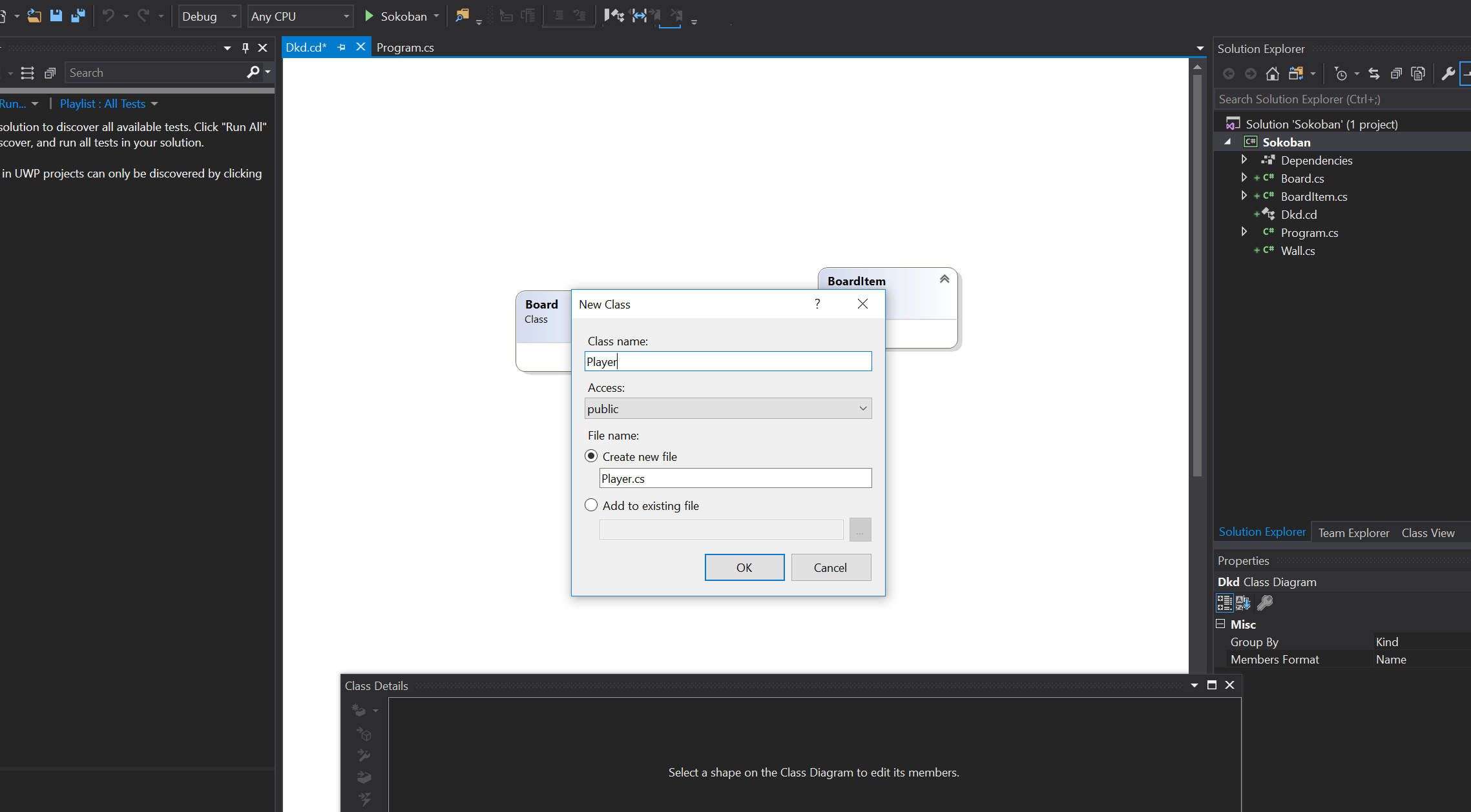 Error when creating a new class in a class diagram  · Issue