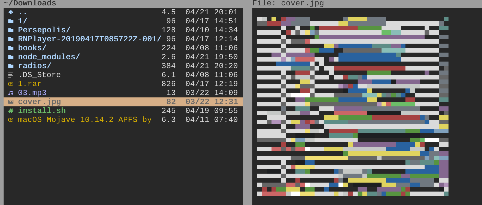 Image preview in terminal (catimg or pixterm)